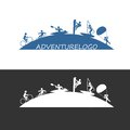 Outdoor adventure logo illustration of sports design icon Stock Image