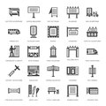 Outdoor advertising, commercial marketing flat glyph icons. Billboard, street signboard, transit ads, posters banner
