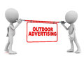 Outdoor advertising concept little men holding a display banner on white Stock Images