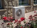 Outdoor air conditioning and heat pump unit Royalty Free Stock Photo