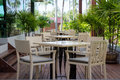 Outdoor area outside the restaurant Royalty Free Stock Photos