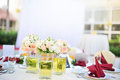 Outdoor banquet wedding table Stock Image
