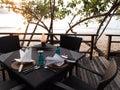 Outdoor beachfront dining resort restaurant Royalty Free Stock Photo