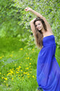 Outdoor beautiful woman portrait in a park green Royalty Free Stock Photos
