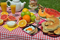 Outdoor breakfast or brunch with coffee bacon and egg boiled egg croissants bread cookies cereals orange juice and seven different Royalty Free Stock Photos