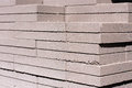 Outdoor building materials stacked concrete masonry pavers Stock Image