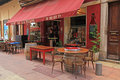 Outdoor cafe in old town of nice france may french traditional at may Stock Images
