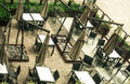 Outdoor cafe pavement view from above Royalty Free Stock Photos