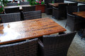 Outdoor cafe in rainy weather Stock Photography