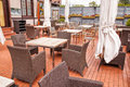 Outdoor cafe tables Royalty Free Stock Photo
