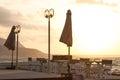 Outdoor cafe with terrace over sea coast. Malia, Crete, Greece. Royalty Free Stock Photo