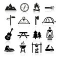 Outdoor camping icons collection of and Stock Photo