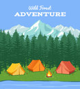 Outdoor camping. Nature background with river and forest, mountains camp tent vector illustration
