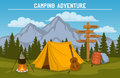 outdoor camping tourism scene