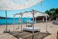 Outdoor canopy. Ibiza nudist beach. Royalty Free Stock Photo