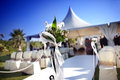 Outdoor ceremony beautiful venue with flowers and blue sky Stock Image
