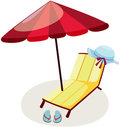 Outdoor chair and umbrella Royalty Free Stock Photos