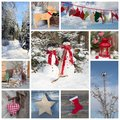 Outdoor christmas decoration in country style in blue and red fo for a greeting card Royalty Free Stock Image