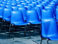 Outdoor cinema blue seats Stock Image