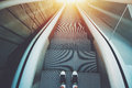 Outdoor city escalator stairway down Royalty Free Stock Photo