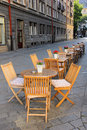 Outdoor coffee shop on the street in Bratislava, Slovakia Royalty Free Stock Photo
