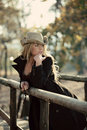 Outdoor Country Style Fashion Portrait of Woman Royalty Free Stock Photos