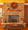 Outdoor Deck with Fireplace Royalty Free Stock Photo