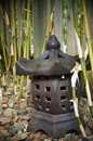 Outdoor decor japanese themed onto bamboo background Royalty Free Stock Images