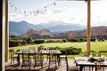 Outdoor dining area with mountain view Royalty Free Stock Photo