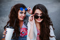 Outdoor fashion lifestyle portrait of two young beautiful women, dressed in denim outfit, mirrored sunglasses, enjoy a Royalty Free Stock Photo