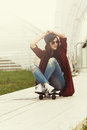Outdoor Fashion Summer Portrait Pretty Young Woman  With Skatebo Royalty Free Stock Photo
