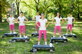 Outdoor fitness class in support of good health Royalty Free Stock Photo