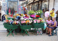 Outdoor flower market in Lisbon (Portugal) Stock Image