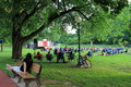 Outdoor free plays in the park saratoga spring new york to public congress springs summer Stock Image