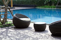Outdoor furniture rattan chairs Royalty Free Stock Photo
