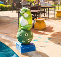 Outdoor garden decoration statue frog green funny Stock Images