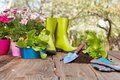 Outdoor gardening tools on old wood table Stock Photo