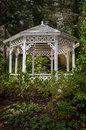 Outdoor gazebo in the forest Royalty Free Stock Image