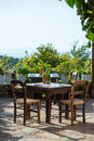 Outdoor greek cafe Royalty Free Stock Photo
