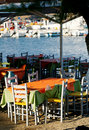 Outdoor Greek tavern Royalty Free Stock Photos