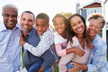 Outdoor group portrait of black multi generation family Royalty Free Stock Photo