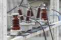 Outdoor High Voltage Instrument Transformers Royalty Free Stock Photo
