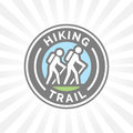 Outdoor hiking trail symbol with hikers icon
