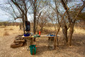 Outdoor kitchen in the bush in mali gouina falls location and solar shower Royalty Free Stock Image