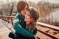Outdoor lifestyle portrait of young happy couple Royalty Free Stock Photo