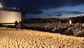Outdoor movie projection during cannes film festival french riviera Royalty Free Stock Image