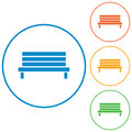Outdoor park wooden bench icon