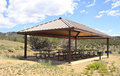 Outdoor picnic area covered and bbq in the colorado mountains united states Royalty Free Stock Photos