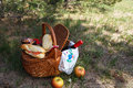 Outdoor picnic at sunny day picnic basket time with food fruits and bottle of wine Stock Photos