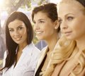 Outdoor portrait attractive businesswomen selective focus Royalty Free Stock Images